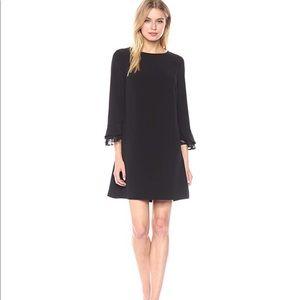 Tahari black shift dress with lace details